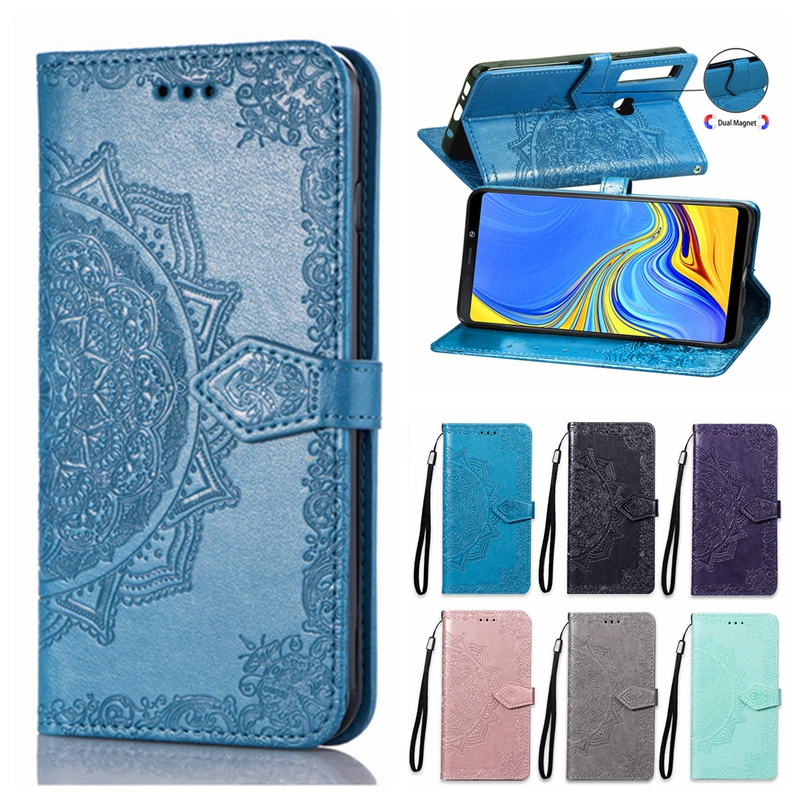 A9 2018 Case on for Samsung Galaxy A9 2018 Case Flip Leather 3D Mandala Flower Case For Samsung A9 2018 A920 Case Cover Coque