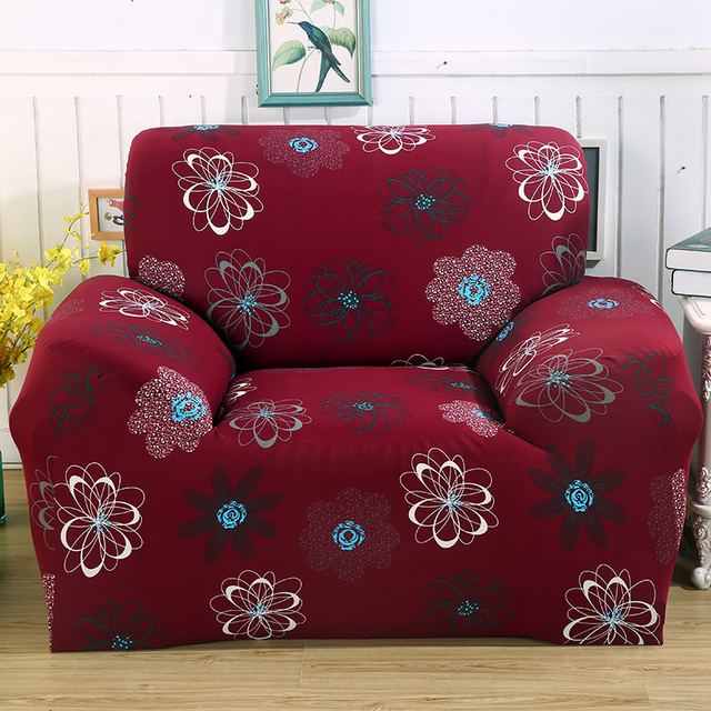 Red Printed 1/2/3/4 Seat Sofa Cover Printing Couch Cover Floral