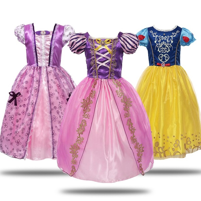 Vestido de fiesta de Halloween de cumpleaños de la bella cenicienta de la nieve blanca de la muchacha del disfraz de la princesa de vogueón de las muchachas Rapunzel