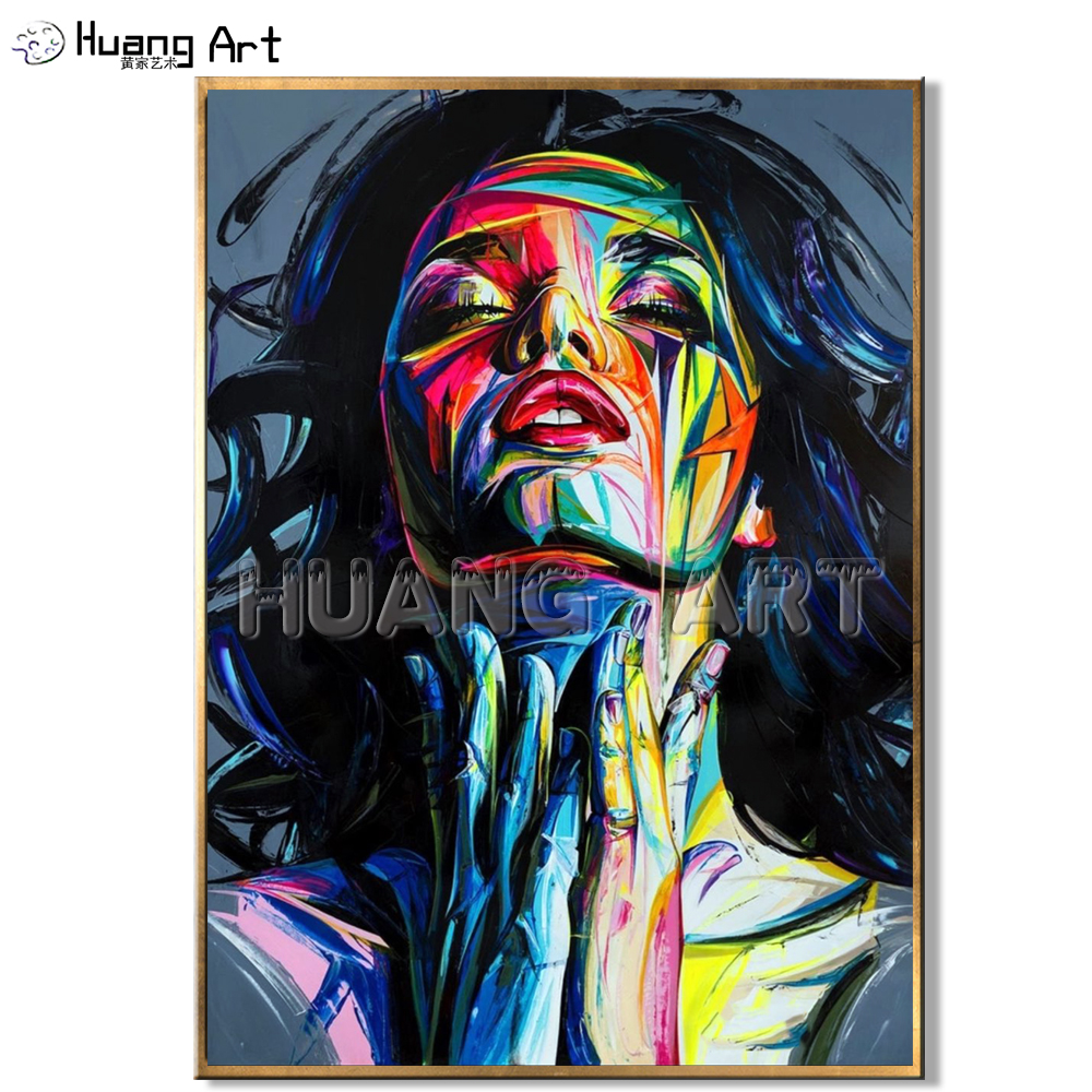 Handmade High Quality Pretty Woman Abstract Face Portrait Oil Painting for Living Room Decor Modern Knife Figure Oil Painting