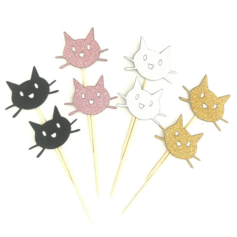 12PCS Cute Animal <font><b>Cat</b></font> <font><b>Cake</b></font> <font><b>Topper</b></font> Sliver Gold Pink <font><b>Black</b></font> <font><b>Cat</b></font> Cupcake <font><b>Toppers</b></font> Pick Wedding Children Birthday Party Decoration image