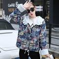 Novo 2016 calças de Brim de Impressão Casaco Com Capuz Jaqueta Jeans Mulheres Jaqueta de Inverno Quente Cordeiro Outerwear Feminina de Algodão Acolchoado Calças De Brim Parkas