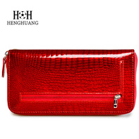 HH Women Wallet And Purse Large Capacity Leather Alligator Ladies Long Wallets Zipper Clutch Bag Female