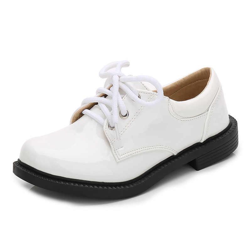 ชายหนังใหม่รองเท้าสำหรับเด็กโรงเรียน Oxford รองเท้าเด็กสไตล์อังกฤษแบนชุดแต่งงานรองเท้ามารยาทสีดำสีขาว
