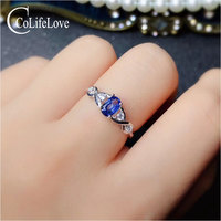 CoLife Jewelry Natural Royal Blue Sapphire Ring for Engagement 4mm*6mm 0.5ct Sapphire 925 Silver Ring Silver Sapphire Jewelry