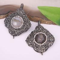 Fashion 4Pcs Pave Crystal Rhinestone Nature Druzy Geode Quartz Stone Pendant Beads Connector Charms Drusy Jewelry