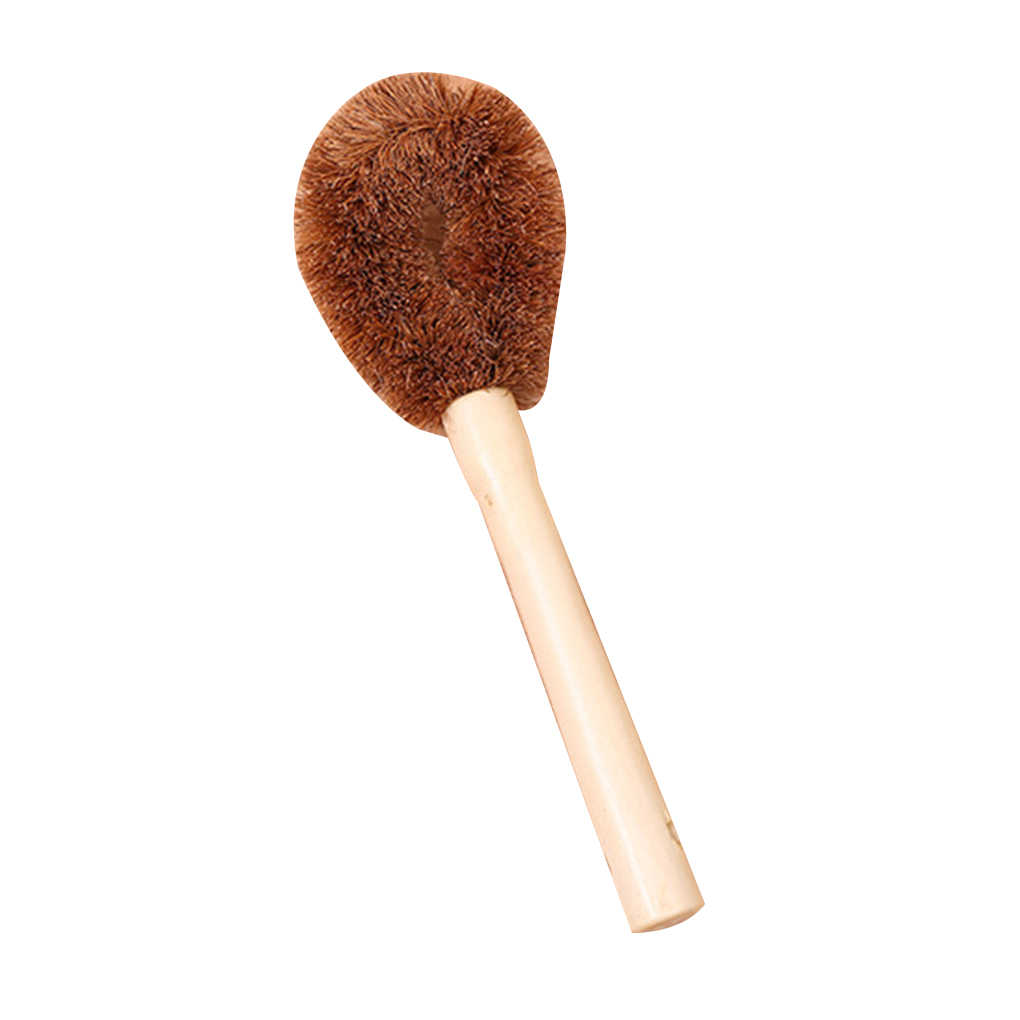 Coconut Fiber Long Hand Pot Washing Brush Non-Stick Oil Bowl Brush for Kitchen Cleanup/Decontamination