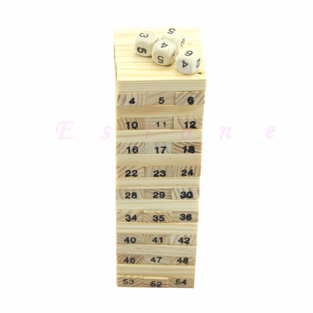 54 Blocks+4 Dices Children Wooden Tumbling Stacking Tower Block Board Game