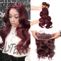 Guanyuhair # 99J Бургундия волос Weave 3 Связки с 360 синтетический Frontal шнурка бразильский средства ухода за кожей волна Remy красный пряди человеческих