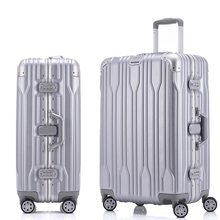 "20""24""26""29"" inch ABS+PC+Aluminum frame Rolling Luggage Spinner Suitcase Wheels Silver Travel Bag Cabin Trolley Men Luggage(China)"