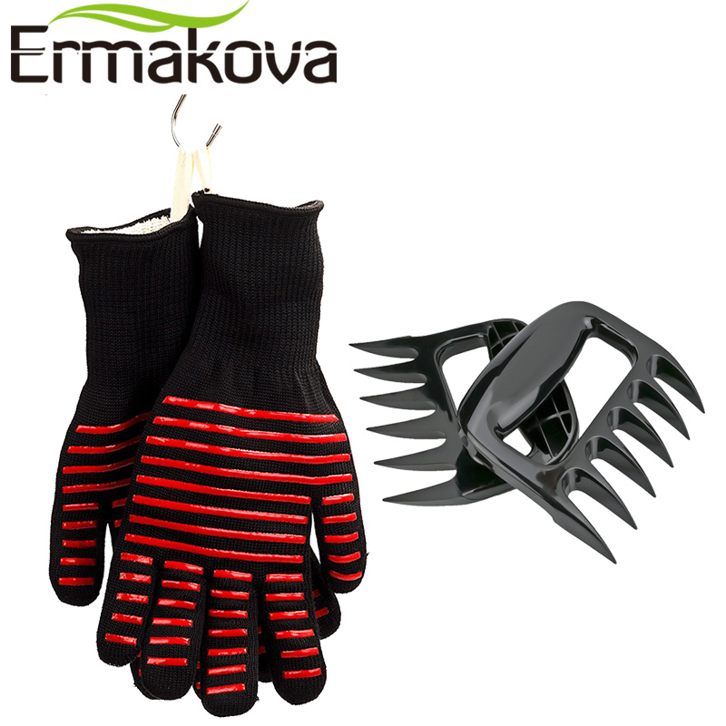 ERMAKOVA BBQ Gloves Heat Resistant Grill Gloves Non-slip Silicone Coated Pot Holders Bear Paws Shredder Meat Claws BBQ Tools Set