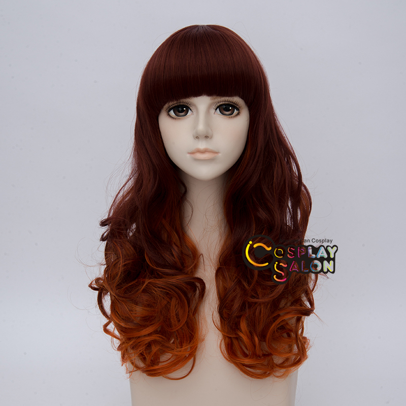 Hair Extensions & Wigs Hearty Lolita 55cm Long Reddish Brown Mixed Orange Curly Halloween Cosplay Wig Bangs Up-To-Date Styling Synthetic None-lacewigs