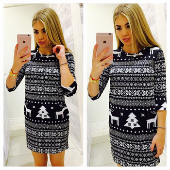 AiiaBestProducts Women Casual Christmas Deer Printed Dress 1