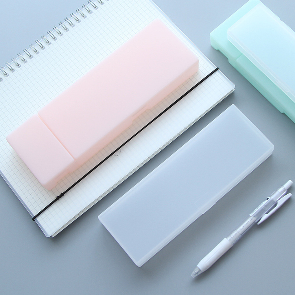 PaaHintDer Simple Transparent Pencil Case Frosted Plastic Pens Office Supplies