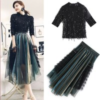 New Spring Autumn Women's Skirts Suits Sequins Shiny Tassels Blouses Tops And Irregular Ruffles Graceful Skirt Suits Set NS261