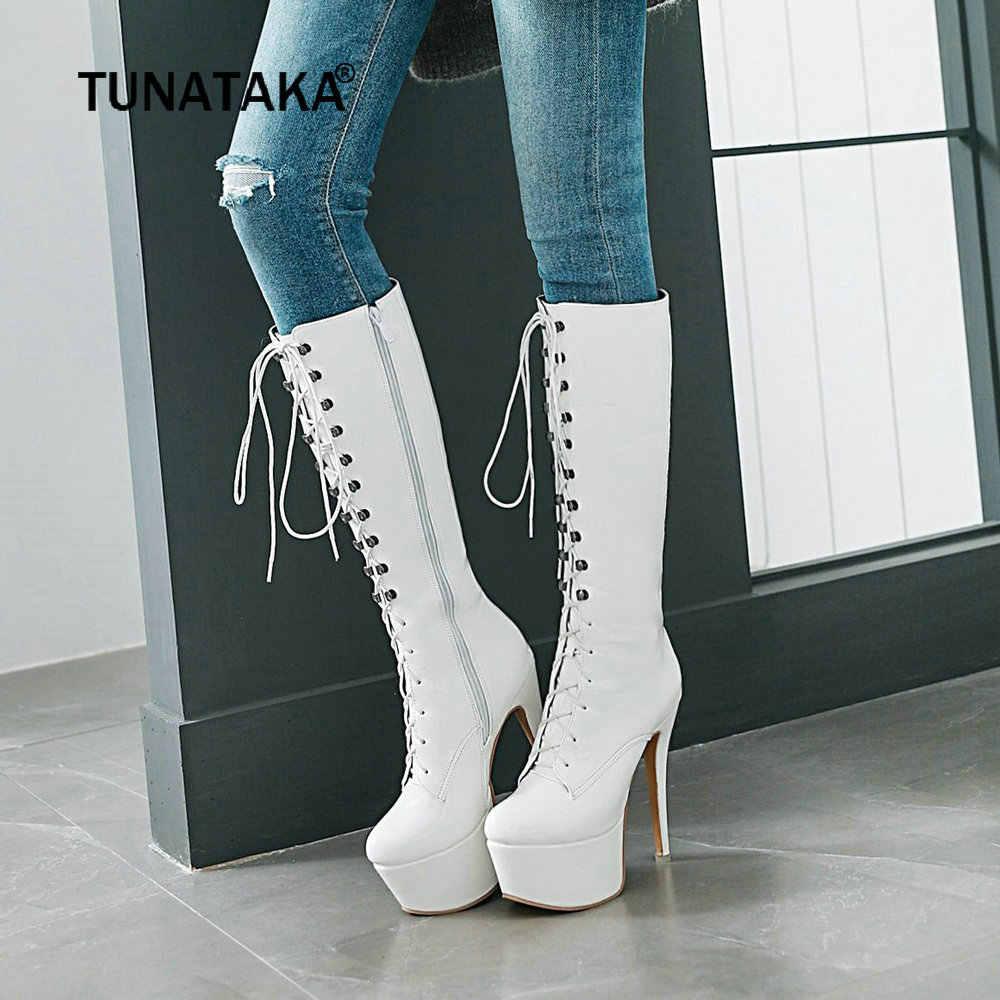 Seksi rugan kadın diz yüksek çizmeler kış platformu Extreme Stiletto yüksek topuklu çizmeler Zip çizmeler dantel-up kadın ayakkabı 2019