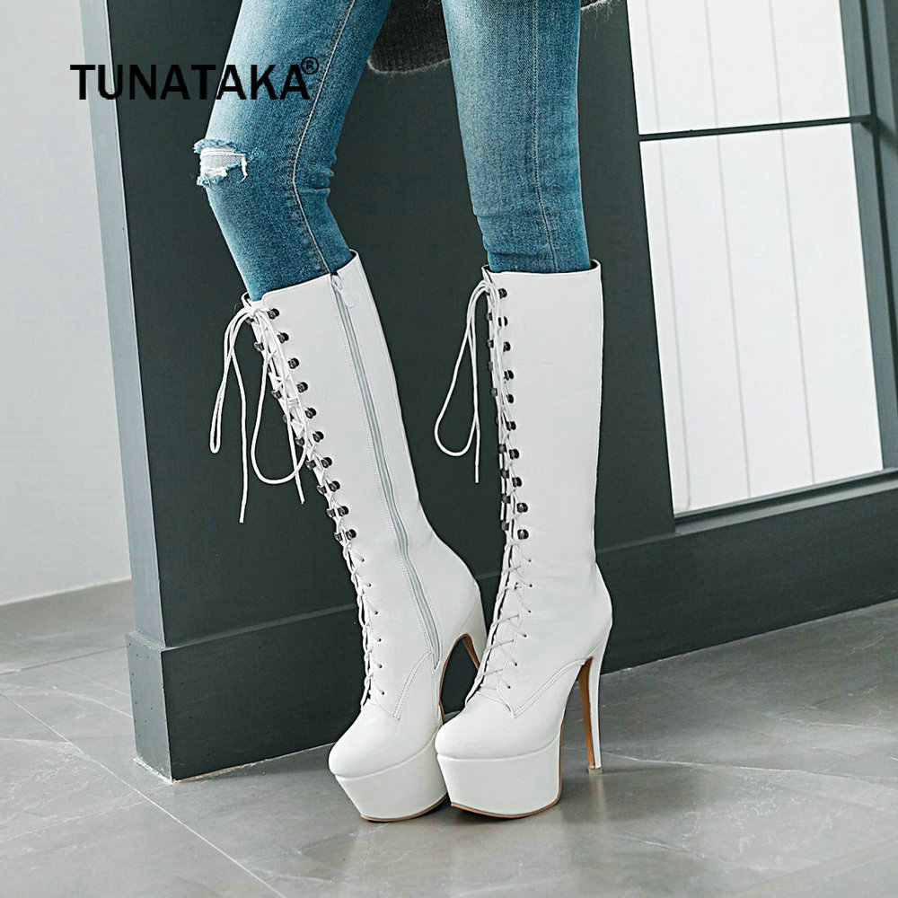 Women Platform Boots Sexy Patent Leather Knee High Boots Fashion Thin High Heel Boots Zipper Boots Lace Up Woman Shoes 2018 New