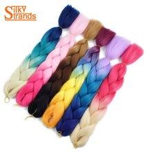 "Silky Strands Crochet Jumbo Braids 24"" 100g Synthetic High Temperature Fiber Ombre Braiding Hair Colors Box Hair Extension Bulk"