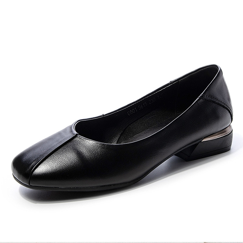 2019 New Woman Genuine Leather Pumps Point toe Classic Square Heel Lady Office Black Cow Leather High heels(China)