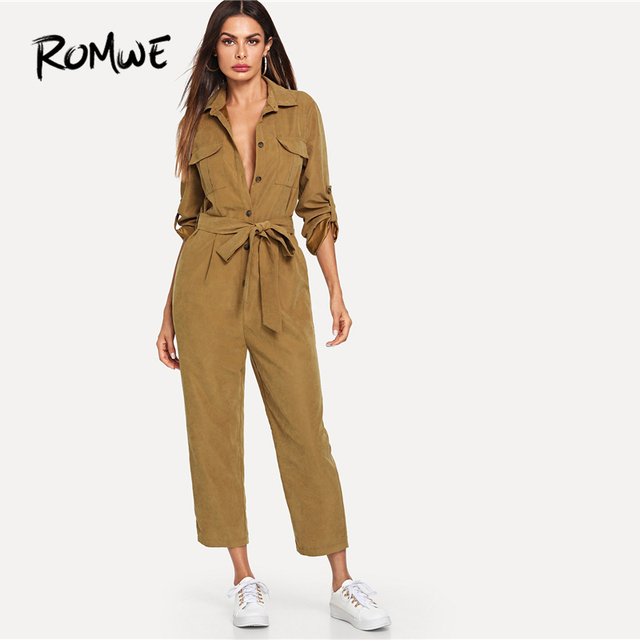 44ea44e4e1d ROMWE Roll Tab Sleeve Button Front Self Belted Jumpsuit Mid Waist Pocket  Jumpsuits For Women 2019 Long Sleeve Jumpsuits