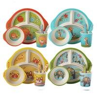 5 stücke Cartoon Baby Geschirr Set Kinder Bambus Faser Trainning Gerichte Platte Baby Fütterung Schüssel Mit Tasse Löffel Gabel Geschirr-in Geschirr aus Mutter und Kind bei