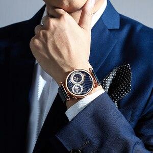 Image 5 - BELOHNUNG Männer Uhren Top marke Luxus Voller Stahl Dual Zifferblatt Quarz Armbanduhr Mens Casual Wasserdichte Analog Uhr Relogio Masculino