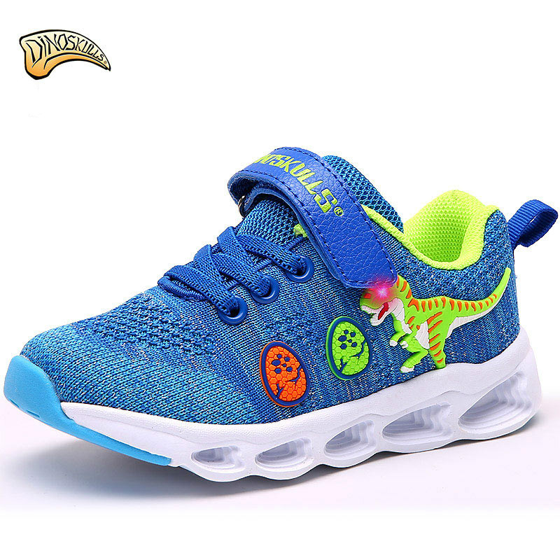 Dinoskulls Kids Boy Light Up Shoes Children s Mesh Glowing Sneakers Fashion Dinosaur Autumn Led Luminous