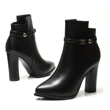 high heel boots for women fashion pointed toe sexy ankle boot zapatos de mujers metal decorate ladies heels