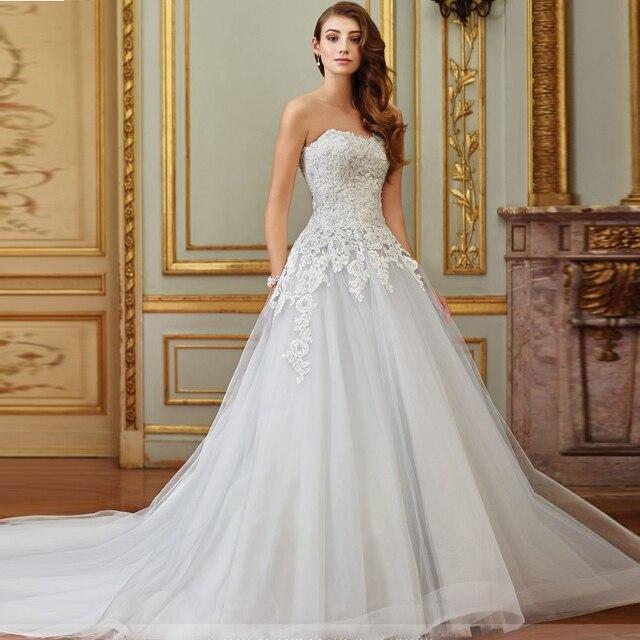 Vestidos Praia Silver Wedding Dresses Designer Tulle Ball Gown Bridal Strapless Liques Corset Bride Dress