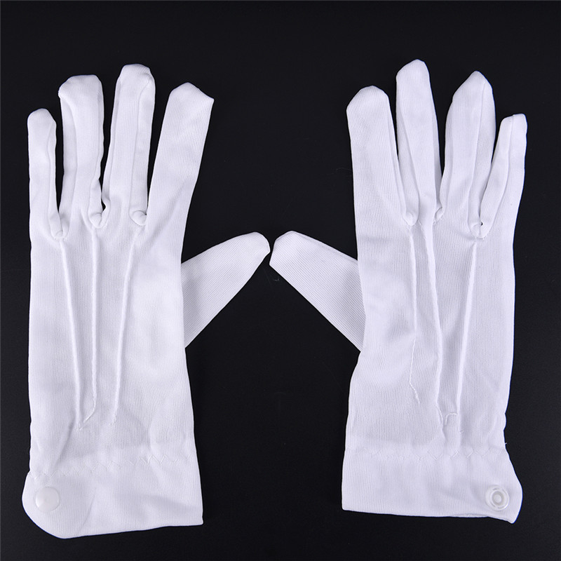1 Pair White Cotton Blend Gloves For Inspection Work Coin Jewelry Lightweight