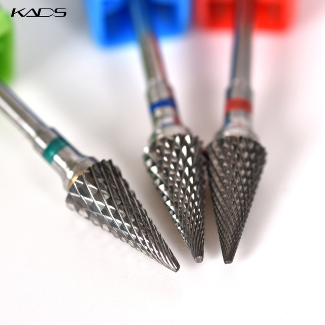 KADS Carbide Milling Cutter Burrs Tungsten Nail Drill Bits Electric Manicure Drill Machine Accessories Rotary Nail Art Tool 2