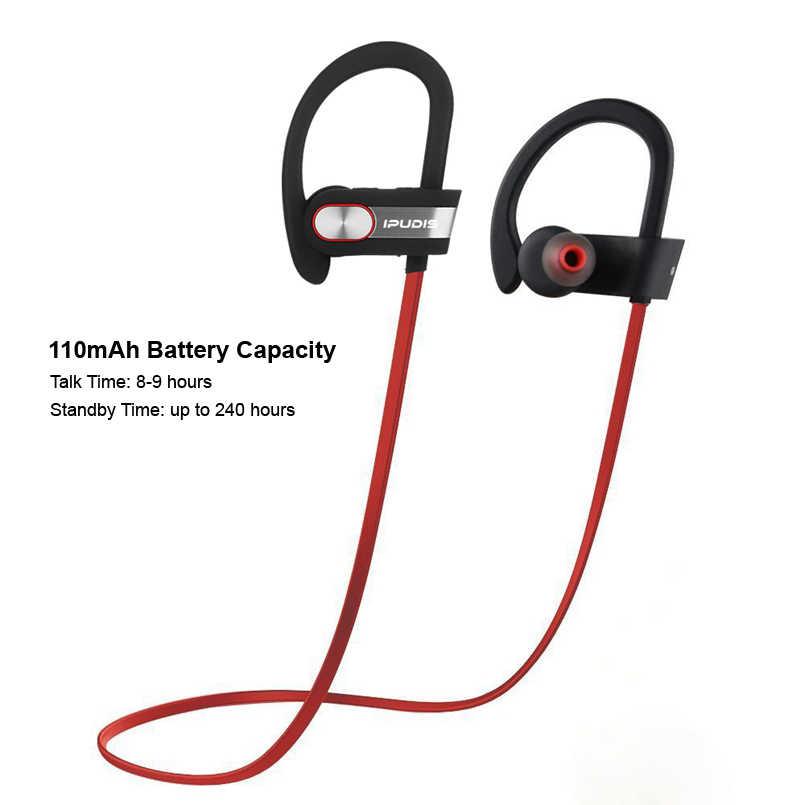 IPUDIS スポーツの Bluetooth イヤホン IPX7 防水耳フックワイヤレスヘッドホンステレオ V4.1 ポータブルヘッドセット 110 mAh