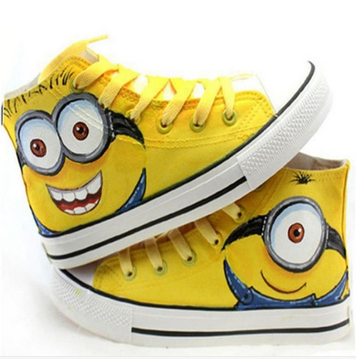 Boys Minions Hi Tops Trainers Casual Pumps Ankle Boots From Despicable Me Kids