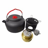 DSGS Alocs Camping Water Tea Kettle Picnic Pot Alcohol Stove with Bracket Outdoor Travel Cookware Hiking Equipment Set CW K04
