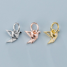 Pretty 925 Sterling Silver Crane Dangle Charm Plated Gold Rose Gold Color S925 Silver Small Pendants DIY Jewelry Accessories cheap Fashion Charms Classic Metal D1282 TOM YANG as photo 8x6mm 1pcs opp jewelry charms 925 Silver Findings silver pendant charms for DIY Jewelry Making