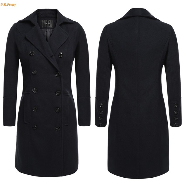Women Trench Coat Autumn Winter Long Style Casual Turn Down Collar Double Breasted Long Trench Coat XXXL Big Plus Size