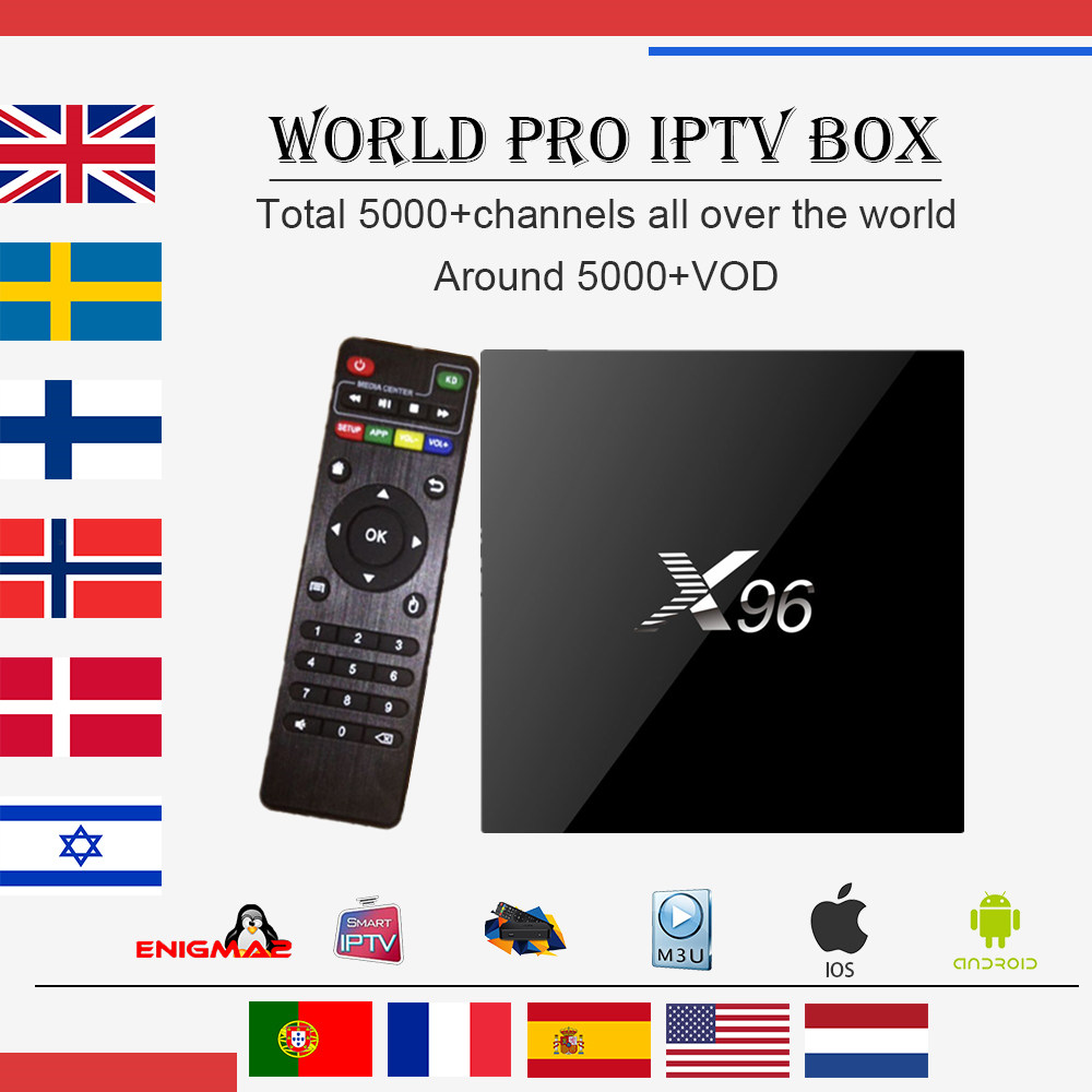 Best World IPTV X96 Android 1G/8G 2G/16G TV Box Arabic French Italy Germany IPTV 4700+Channels +1 year VOD Smart tv set top Box a95x pro voice control with 1 year italy iptv box 2g 16g italy iptv epg 4000 live vod configured europe albania ex yu xxx