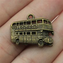 10pcs Charms London Bus 1x0.8 inch (25x20mm) Antique Bronze Pendant Charms For Jewelry Making Diy Jewelry Accessories(China)