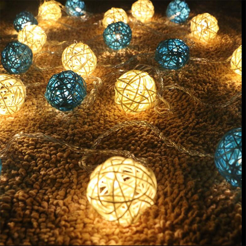 2Colors Flashing White Blue Rattan Ball String Lights 5M 28LEDs Christmas Indoor Outdoor Light Festival Party Garden Decor Light