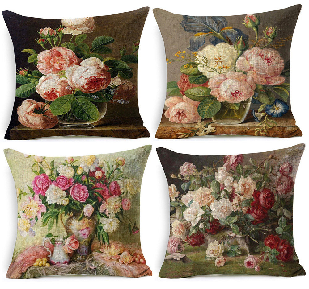 Online Shop Pastoral Pink Floral Cushion Cover Plants Flowers