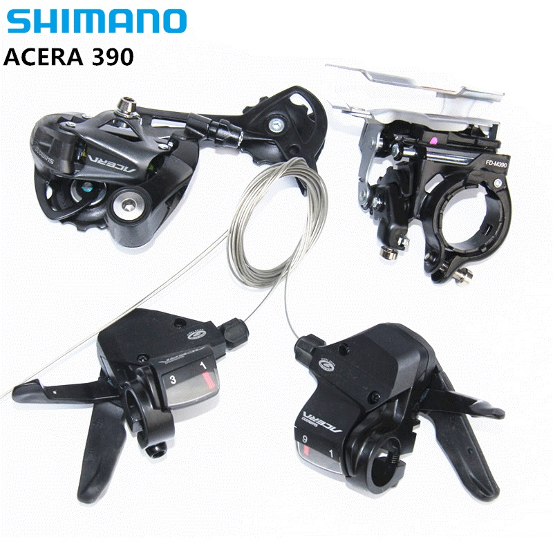 vSHIMANO ACERA M390 9S 27S Speed MTB Bicycle Groupset Kit 3 Parts with Shifter Lever & Front and Rear Derailleur