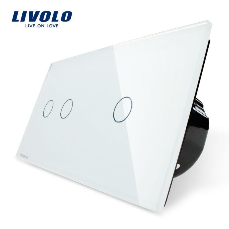 Livolo interrupteur tactile, 2 Gang gauche + 1 Gang droit panneau de verre cristal blanc, interrupteur d'éclairage mural + indicateur LED, VL-C702-11/VL-C701-11