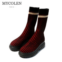 MYCOLEN 2018 модные брендовые зимние ботинки челси обувь на высоких квадратных каблуках слипоны круглый носок Для женщин черная обувь на платфор