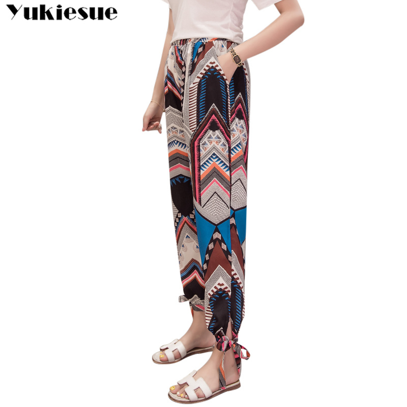 Bohemia summer women's   pants     capris   with high waist chiffon harem   pants   for women trousers woman   pants   female Plus size