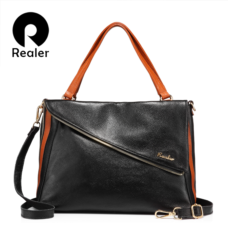 REALER brand designer handbag women genuine leather tote bag female large shoulder bag with high quality