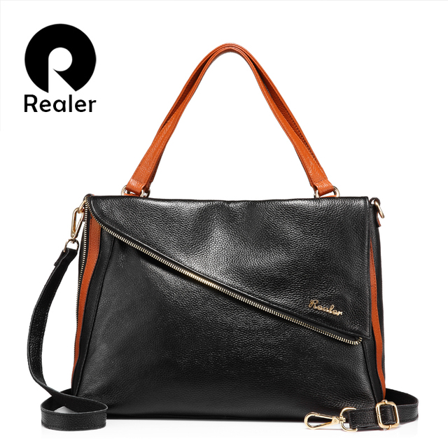 REALER brand designer handbag women genuine leather tote bag female large  shoulder bag with high quality cow leather 394bc5fd31f98