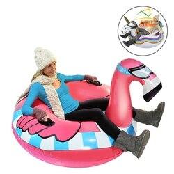 Надувной снежный тюбик с изображением фламинго, единорог для катания на лыжах, надувные сани и Toboggan для взрослых, Детские Лыжные игрушки, на...