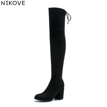 NIKOVE 2019 Women Stretch Fabric Boots Over The Knee Boots Square Heels Spring Autumn Shoes Round Toe Woman Boots Size 34-42