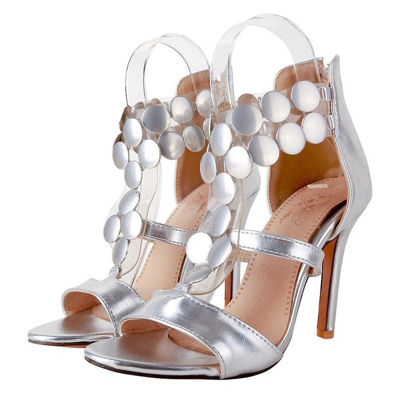 Mode Zip Pour Haute sliver De Femmes 34 Sandales Gold Enmayer Taille D'été Pu 45 red Base Décontracté Super Ly1197 Chaussures qvgF1w