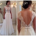 2017 New Lace Custom Made Wedding Dresses Vestido de Noiva Casamento Robe De Mariage Chiffon See through Backless Bridal Gowns